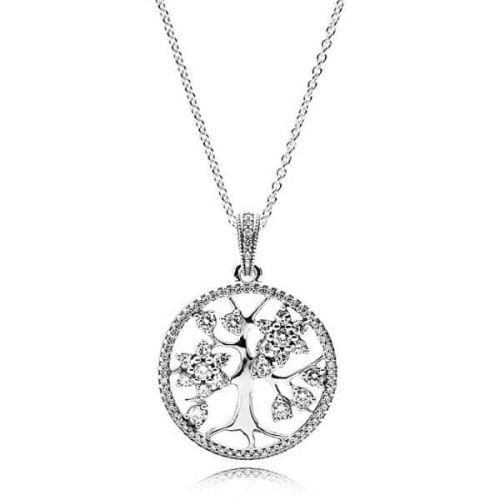 Pandora Stříbrný náhrdelník Rodokmen 390384CZ-80 (řetízek, přívěsek) stříbro 925/1000