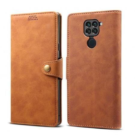 Lenuo Leather flipové pouzdro pro Xiaomi Redmi Note 9, hnědá