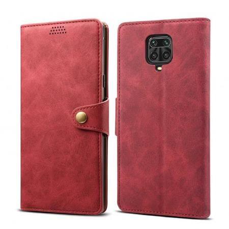Lenuo Leather flipové pouzdro pro Xiaomi Redmi Note 9 Pro/ Note 9S, červená