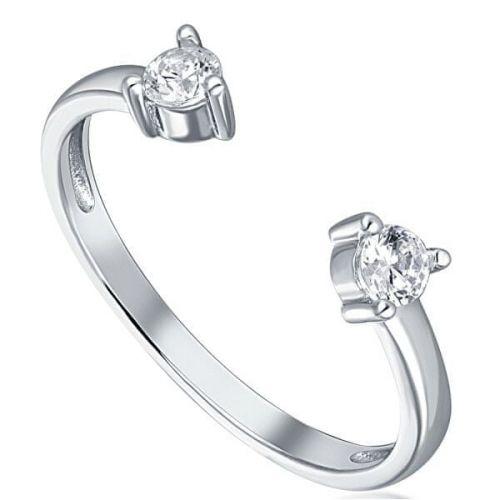 JVD Minimalistický otevřený stříbrný prsten se zirkony SVLR0279XH2BI (Obvod 54 mm) stříbro 925/1000