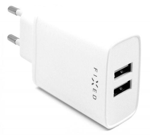 Fixed Síťová nabíječka s 2× USB výstupem, 15 W Smart Rapid Charge FIXC15-2U-WH, bílá