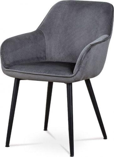 ART Jídelní a konferenční židle, potah šedá manšestrová látka, kovové nohy - černý lak AC-9980 GREY2 Art