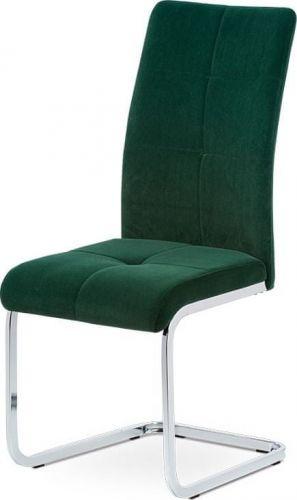 ART Jídelní židle, zelená sametová látka, kovová pohupová chromovaná podnož DCL-440 GRN4 Art