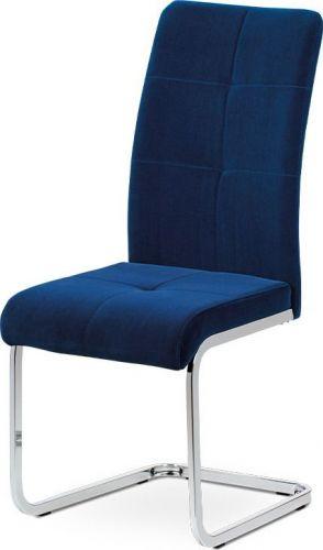 ART Jídelní židle, modrá sametová látka, kovová pohupová chromovaná podnož DCL-440 BLUE4 Art