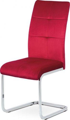 ART Jídelní židle, červená sametová látka, kovová pohupová chromovaná podnož DCL-440 RED4 Art