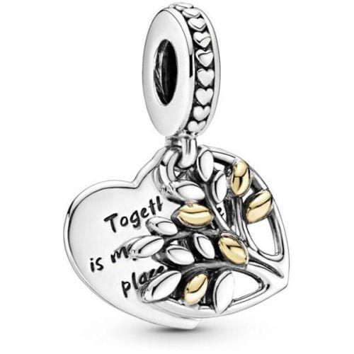 Pandora Něžný visací bicolor přívěsek Srdce a strom života 799161C00 stříbro 925/1000
