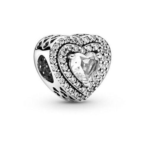 Pandora Třpytivý stříbrný korálek Srdce 799218C01 stříbro 925/1000