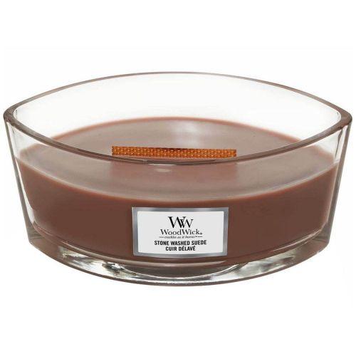 Woodwick vonná svíčka Stone Washed Suede (Sepraný semiš) 453 g