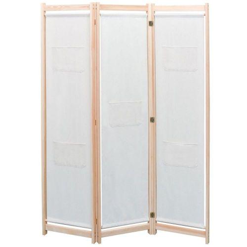 shumee 3dílný paraván krémový 120 x 170 x 4 cm textil