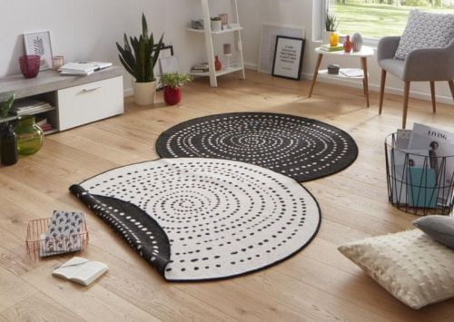 Bougari AKCE: 140x140 (průměr) kruh cm Kusový koberec Twin-Wendeteppiche 103109 schwarz creme 140x140 (průměr) kruh