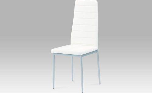 ART Jídelní židle koženka bílá / šedý lak DCL-117 WT Art