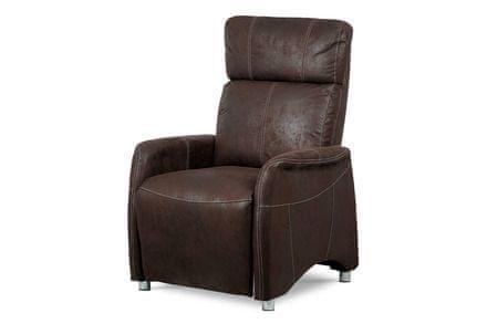 Autronic TV křeslo, hnědá látka v dekoru broušené kůže, kov černý lak / chrom - TV-5040 BR3