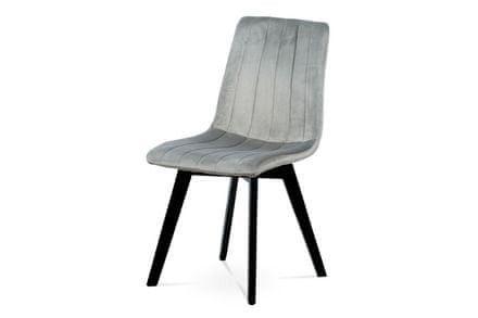 Autronic Jídelní židle, stříbrná sametová látka, masivní bukové nohy, černý matný lak - CT-617 SIL4