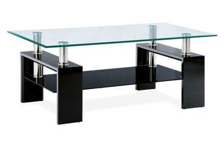 Autronic Konferenční stolek 110x60x45 cm, černý lesk / čiré sklo 8 mm - AF-1024 BK