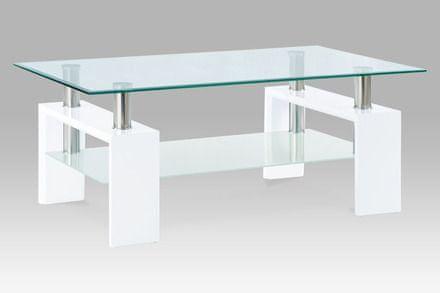 Autronic Konferenční stolek 110x60x45 cm, bílý lesk / čiré sklo 8 mm - AF-1024 WT