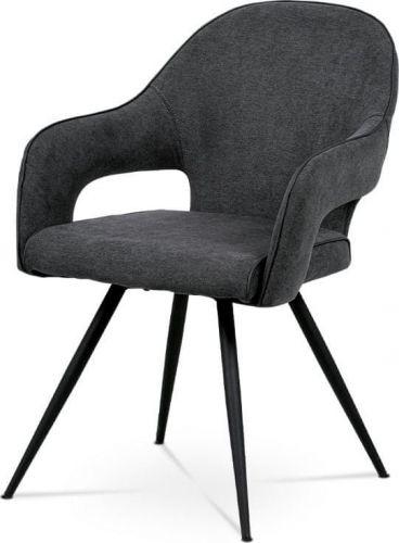 ART Jídelní židle, šedá látka, kovová podnož, černý matný lak HC-031 GREY2 Art