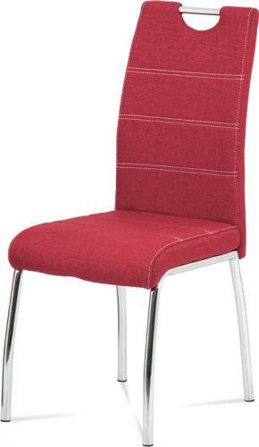 ART Jídelní židle, potah vínově červená látka, bílé prošití, kovová čtyřnohá chromovaná podnož HC-485 RED2 Art