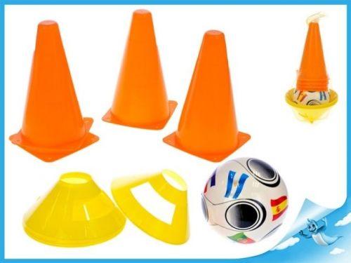 Mikro Trading Fotbalové kužely 18cm 4ks + mety 4ks s míčem 11cm 10m+
