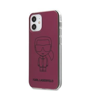 Karl Lagerfeld KLHCP12SPCUMIKPI Karl Lagerfeld PC/TPU Metallic Iconic Outline Kryt pro iPhone 12 mini 5.4 Pink