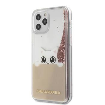 Karl Lagerfeld KLHCP12LPABGNU Karl Lagerfeld Liquid Glitter Peek a Boo Kryt pro iPhone 12 Pro Max 6.7 Pink