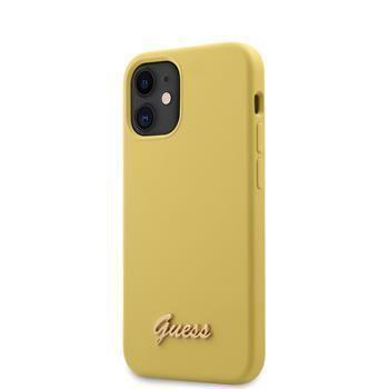 Guess GUHCP12SLSLMGYE Guess Silicone Metal Logo Script Zadní Kryt pro iPhone 12 mini 5.4 Yellow