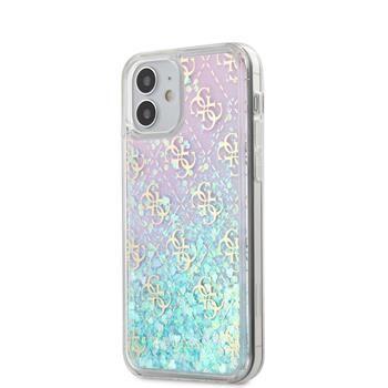 Guess GUHCP12SLG4GGBLPI Guess 4G Liquid Glitter Zadní Kryt pro iPhone 12 mini 5.4 Iridescent
