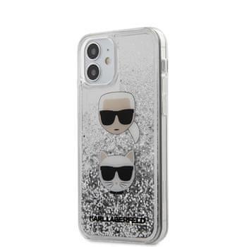 Karl Lagerfeld KLHCP12SKCGLSL Karl Lagerfeld Liquid Glitter 2 Heads Kryt pro iPhone 12 mini 5.4 Silver