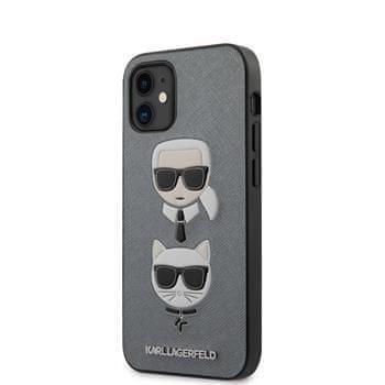 Karl Lagerfeld KLHCP12SSAKICKCSL Karl Lagerfeld Saffiano K&C Heads Kryt pro iPhone 12 mini 5.4 Silver