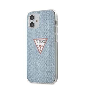 Guess GUHCP12SPCUJULLB Guess PC/TPU Denim Triangle Zadní Kryt pro iPhone 12 mini 5.4 Light Blue