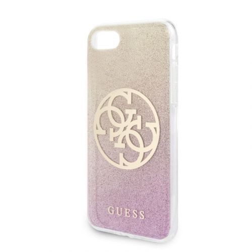Guess GUHCI8PCUGLPGG Guess Glitter 4G Circle Kryt pro iPhone 8/SE2020 Rose Gold
