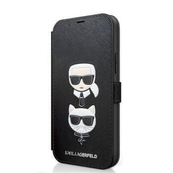 Karl Lagerfeld KLFLBKP12LSAKICKCBK Karl Lagerfeld Saffiano K&C Heads Book Pouzdro pro iPhone 12 Pro Max 6.7 Black