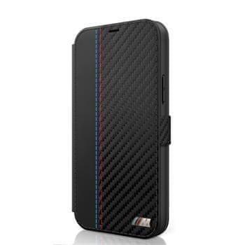 Bmw BMFLBKP12LMCARBK BMW PU Carbon Contrast Book Pouzdro pro iPhone 12 Pro Max 6.7 Black