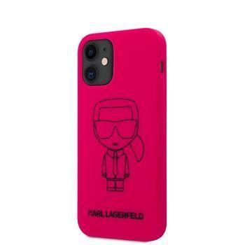 Karl Lagerfeld KLHCP12SSILFLPI Karl Lagerfeld Iconic Outline Silikonový Kryt pro iPhone 12 mini 5.4 Pink