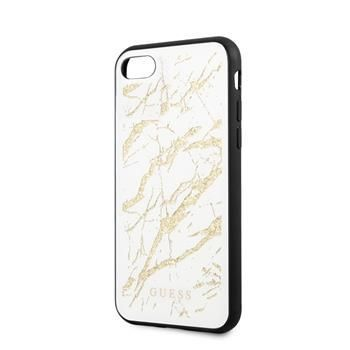 Guess GUHCI8MGGWH Guess Glitter Marble Kryt pro iPhone 8/SE2020 White Gold