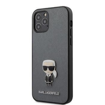 Karl Lagerfeld KLHCP12MIKMSSL Karl Lagerfeld Saffiano Iconic Kryt pro iPhone 12/12 Pro 6.1 Silver