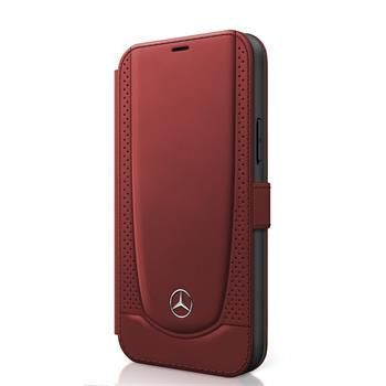 MERCEDES MEFLBKP12MARMRE Mercedes Perforated Leather Book Pouzdro pro iPhone 12/12 Pro 6.1 Red