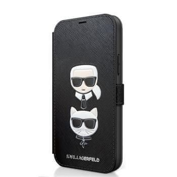 Karl Lagerfeld KLFLBKP12MSAKICKCBK Karl Lagerfeld Saffiano K&C Heads Book Pouzdro pro iPhone 12/12 Pro 6.1 Black