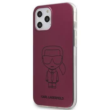Karl Lagerfeld KLHCP12MPCUMIKPI Karl Lagerfeld PC/TPU Metallic Iconic Outline Kryt pro iPhone 12/12 Pro 6.1 Pink