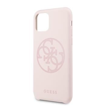 Guess GUHCN61LS4GLP Guess 4G Silicone Tone Zadní Kryt pro iPhone 11 Light Pink