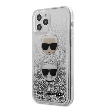 Karl Lagerfeld KLHCP12LKCGLSL Karl Lagerfeld Liquid Glitter 2 Heads Kryt pro iPhone 12 Pro Max 6.7 Silver