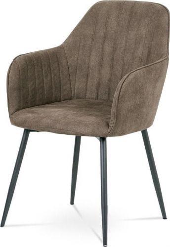 ART Jídelní židle, hnědá látka, kov šedá mat DCH-222 BR3 Art