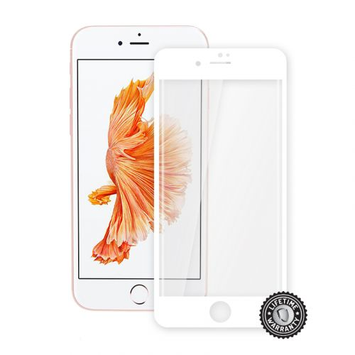 Screenshield™ Apple iPhone 7 Tempered Glass protection display (full COVER WHITE metalic frame)