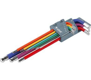 EXTOL PREMIUM L-klíče imbus prodloužené barevné, sada 9ks