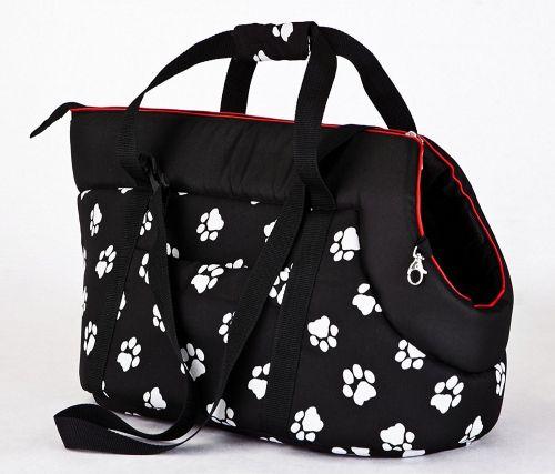 HobbyDog Taška pro psa cestovní - černá a packy Velikost: R1 - 20 x 42 cm
