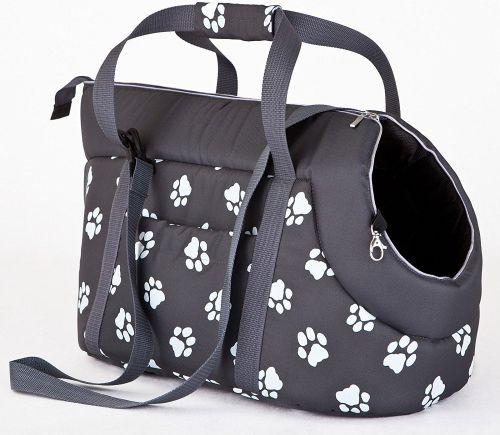 HobbyDog Taška pro psa cestovní - šedá a packy Velikost: R1 - 20 x 42 cm