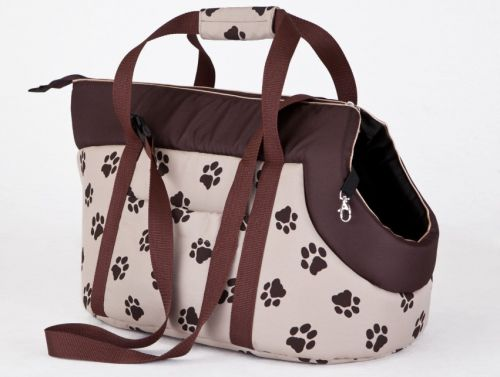 HobbyDog Taška pro psa cestovní - béžová packy Velikost: R1 - 20 x 42 cm
