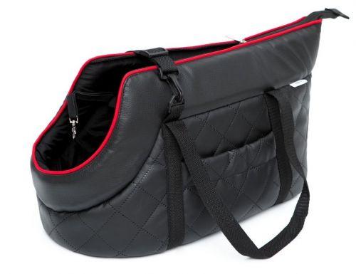 HobbyDog Taška pro psa cestovní - černá eko kůže Velikost: R1 - 20 x 42 cm