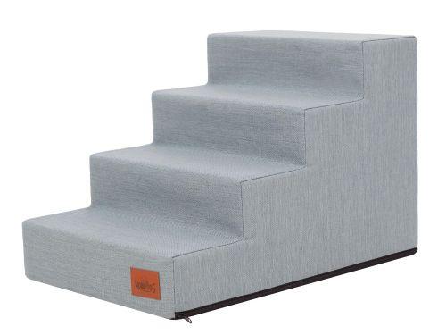 HobbyDog Schody pro psa INARI šedomodré Velikost: S - 50x30x30 cm