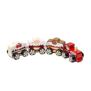 """Levenya Cubika 15382 Vlak """"Cakes"""" - dřevěný vláček s magnety 4 díly"""