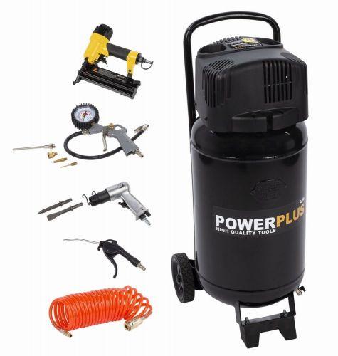 Powerplus Kompresor 1100W 50L plus 9 ks přísl. bezolejový
